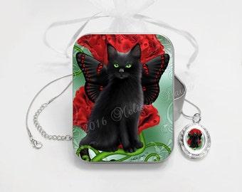 Black Cat Jewelry // Cat Locket Necklace // Garnet Cat