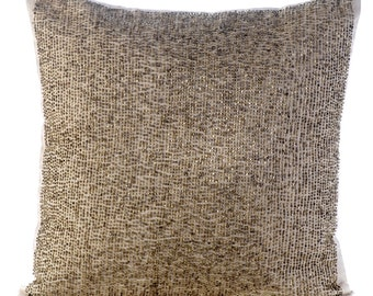 "Designer Ecru Cushion Covers, 16""x16"" Cotton Linen Pillowcase, Square Gold Bead Embroidered Pillow Cover - Desert Life"