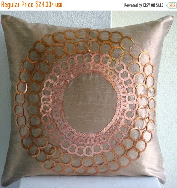 """15% HOLIDAY SALE Handmade Dark Peach Throw Pillows Cover, 16""""x16"""" Silk Pillows Covers For Couch, Square  Sequins Medallion Pillows Cover - T"""