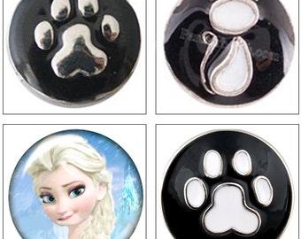 MERZIEs 12mm Snap glass U PICK animal paw print kitty cat princess Button - SHIPs from USA - Combined Shipping