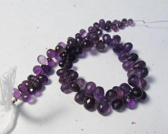 Dark Amethyst Briolette Beads , 8 1/2 Inches , 7mm 8mm Natural Gemstone Uruguay