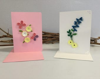 Quilled Note Cards, Floral Blank Quilled Cards, Paper Quilling, Handmade Blank Greeting Cards, Paper Filigree Set of 2