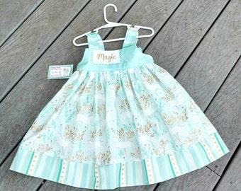 Girls Unicorn Dress - Toddler Girl Dress - Unicorns   - Magic - 1st Birthday Dress  - Groovy Gurlz