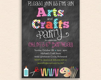Arts & Crafts Party Invitation - Chalkboard Style with Scissors, Glue, Crayons, Paint Brushes and Palette - Artist Craft Birthday Party
