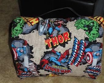 Marvel character print with fleece blanket nap mat-new-handmade.