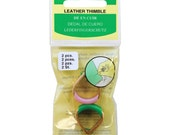 Clover Adjustable Leather Thimble, Package of 2