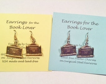 Library Building Charm Earrings silver or gold librarian jewelry lead-free made in USA