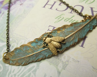 Feather Bee Necklace Vintage necklace Angelina Verbuni and MyElegantThings necklace Verdigris Unique Necklace Simple necklace