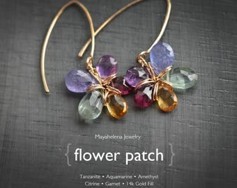 Flower Patch  - Tanzanite Aquamarine Amethyst Garnet and Citrine Flower Dangle 14k Gold Fill Earrings