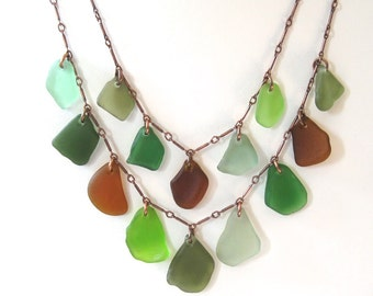 Double Tiered Multi-Color Sea Glass Necklace on Oxidized Copper