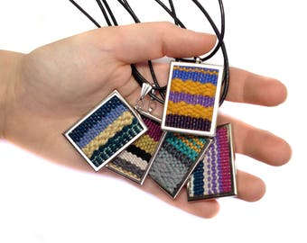 SALE Hand Loomed Saffron Chevron Pendant   Woven Women's Jewelry   Fibre Necklace   Modern Weaving   Gifts for Her   Pendant Weaving   A93
