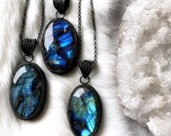 Labradorite necklace | Spectrolite necklace | Labradorite pendant | Labradorite jewelry | Blue Labradorite stone