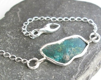 Ancient Roman Glass Bracelet, Sterling Silver Chain, Green Historical Artifact, Antique Gift Idea