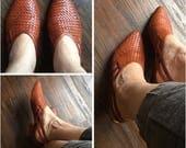 Vintage Woven Caramel Leather Sandals 7 7.5