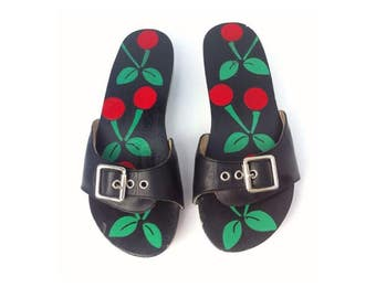 Cherry Painted Wooden Sandals Slides 6 6.5 7 Slip ons