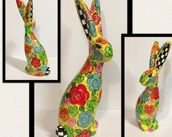 Painted Bunny, whimsical painted bunny, painted Easter bunny, garden bunny