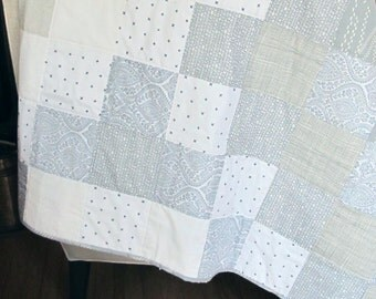 Beautiful Gray and White Quilt Handmade Quilted Modern Throw