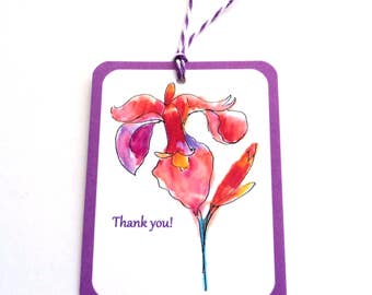 2 Gift Tags, Lovely Flower Tags, Pink Purple White, Handmade, hang tags, Party Favor Tags