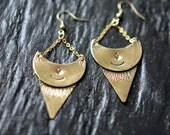 Celestial Earrings, Crescent Moon Daggers, Hand Stamped Brass, Cosmic, Alchemy, Pagan, Magic, Bohemian, Boho Jewelry, Gift for Her, Under 50