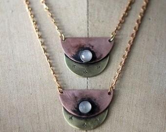 Medieval Moonstone Pendant in Copper & Brass