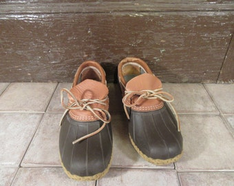 LL Bean rubber and leather slip on boot shoe- Size Men's 9.5- Women's 11.5- fine condition,  great style