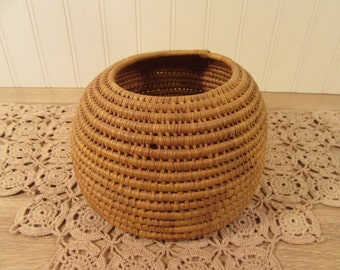 Wonderful vintage coiled woven basket
