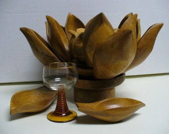 Mid-Century Wooden Lotus Chip and Dip with Removable Petal Dishes