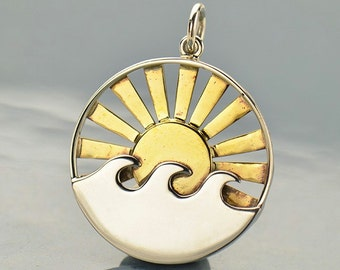 The Sun illuminating the World Necklace No. 2 - Solid 925 Sterling Silver & Bronze Charm Pendant - Insurance Included