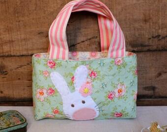 Easter egg hunt bag bunny applique pale pink flower