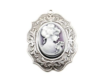 Cameo Pendant - 18x25mm Shimmering Purple Resin Female Portrait Cameo and Sterling Silver Plated Setting