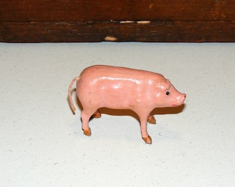 SALE Antique German Composition Wood Stick Leg Putz Pig marked Germany