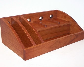 Charging Station / Docking Station with slots for iPad, Kindle, Nook, iPhone, cell phone Handcrafted in Cherry with attached power strip