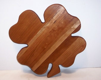 4 Leaf Clover Cheese Cutting Board Hand Crafted from Cherry Hardwood