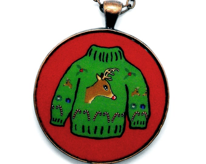Ugly Christmas Sweater Necklace Xmas Holiday Reindeer Jewelry