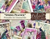 Spring Peacock, Printable, Journal Kit, Printable Paper, Spring Journal, Smash Book, Instant Download, Printable Ephemera, CalicoCollage