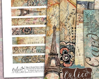 Digital, Printable, Travelin' Through, Digital Strips, Traveling, Collage Sheet, Images for Bracelets, Images for Cuffs, Junk Journal Tags