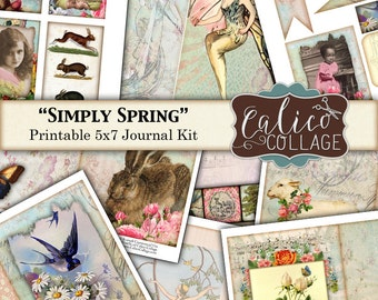 Simply Spring Printable Journal Kit, 5x7 Journal Pages, Scrapbooking, Decoupage, Mixed Media Art, Digital Journal Kit, Ephemera