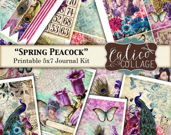 Spring Peacock, Printable, Journal Kit, Printable Paper, Spring Journal, Smash Book, Instant Download, Printable Ephemera, CalicoCollage