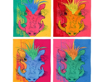 Andy Warthog Blank Card - humorous, word-play, whimsical, pen and ink, digital, warthog, funny, pun, humor, andy warhol