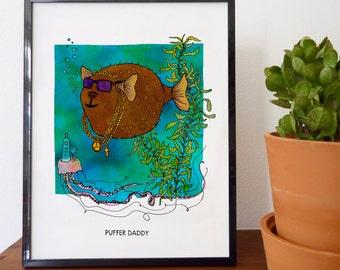 Puffer Daddy Fine Art Print - home decor, wall decor