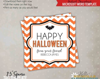 Chevron Halloween Tag, Halloween Candy Bag Tag Template, Printable Instant Download