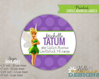 Personalized Tinkerbell Circle Return Address Label Stickers, Custom Birthday Labels #B133