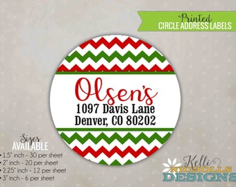 Red & Green Chevron Christmas Return Address Labels - Custom Sticker