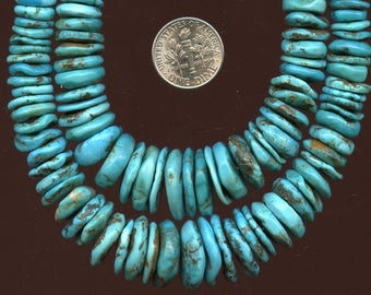 """TURQUOISE 7-16mm  XL Graduated Wavy Discs  One 16"""" strand  78 grams"""
