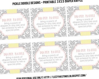 Diaper Raffle Insert Cards Yellow Pink Gray Baby Shower matching, Printable INSTANT DOWNLOAD