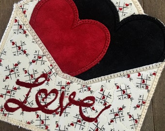 VALENTINE LOVE LETTERS Mug Rugs . . .#loveletters . . .#appliquedesign . . .#uniquevalentinecolors