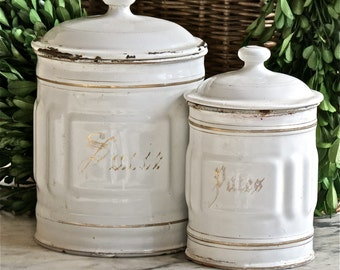 Vintage French Lovely White Enamel Canisters