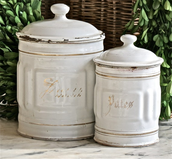 French Kitchen Canisters: Vintage French Lovely White Enamel Canisters
