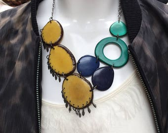 Yellow teal dark blue fringe necklace