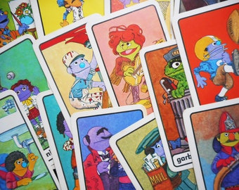 Vintage Sesame Street Flash Cards 1970s Guess Who Jobs Community People Color Illustrations 30 Education Fun Scrapbook Collage Paper Craft